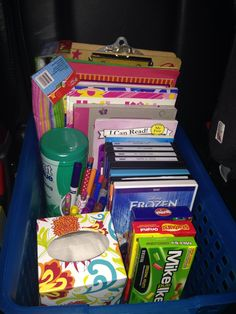 Road Trip Ready!  Clip boards  Color books Educational Learning Water Paint  Books Markers Movies Candy!  Pipe cleaners Dollar Tree is your best friend!