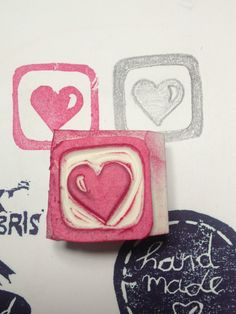 Another framed heart handcarved rubberstamp by Natàlia Trias