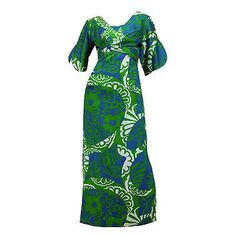 VINTAGE-1960s-PSYCHEDELIC-Hawaiian-Print-MAXI-DRESS-Side-Slits-GEISHA-Asian-Sz-S