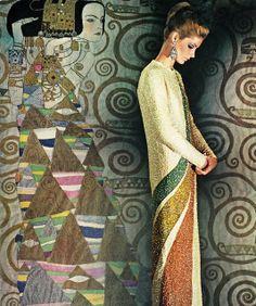 Pierre Cardin. Vogue UK September 1965. Tribute to Gustav Klimt, photoNorman Parkinson