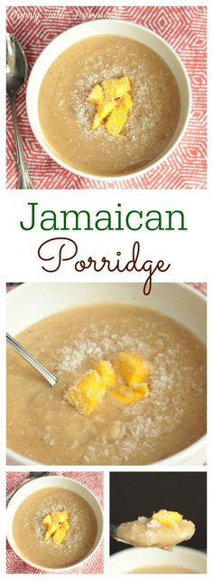 Start your day with something warm in your tummy! The combination of coconut milk, cinnamon and nutmeg make this Jamaican Porridge a great start to your day Jamaican Cuisine, Jamaican Dishes, Jamaican Recipes, Jamaican Soup, Jamaican Desserts, Carribean Food, Caribbean Recipes, Tamarindo, Jamaican Breakfast