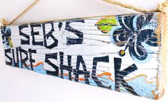 Custom Surf Shack Beach Sign with Original Wave Design Personalized on Reclaimed Distressed Wood Coastal Surf Nursery Kids Room Decor