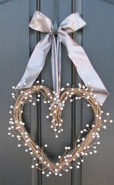 Heart Wreath 25th Anniversary Silver Berry Heart by twoinspireyou, $40.00