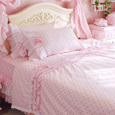 $59 garden style matte finish Sweetheart Princess cotton denim Bedding Sets -ZZKKO