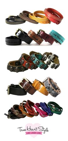 Accessories for every style; leather colored belts, cuff colored bracelets, and other accessories.