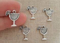 Cocktail Charms x 5. Tibetan Silver  UK seller  by Charmalushus