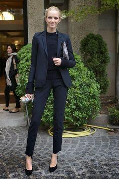 monochromatic women's black suit