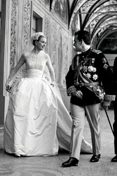 One of our all-time favorite wedding looks - Grace Kelly becomes Princess Grace. With Prince Rainier III of Monaco.