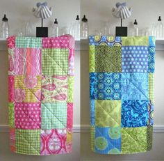 Two Modern Baby Quilts for Twins - Bright Pink and Bright Blue - Boy and Girl - Pink, Yellow, Lime Green, Blue - Flannel or Minky Backing on Etsy, $98.00