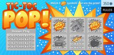 "KABOOM!! Match three ""POP!"" symbols to win this explosive scratch card — free on your iPhone!"