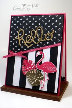 handmade greeting card ... Pop Of Pink with flamingo ... luv the vibrant look of black and white with hot pink ... Stampin' Up!
