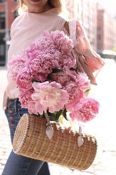 flowers + straw bag
