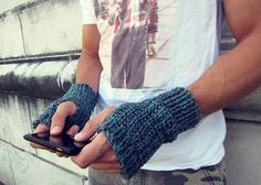 Mens Fingerless Gloves Blue Knit  Unisex by AutumnAndAmber on Etsy