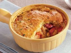 Sausage and beans come together in this hearty baked dinner – made using Progresso® chicken broth and Original Bisquick® mix. Perfect if you love French cuisine. Pork Recipes, Cooking Recipes, French Dishes, French Food, Ways To Cook Chicken, Bisquick Recipes, How To Cook Sausage, Food Dishes, Main Dishes