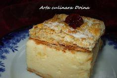 Retete Culinare - Cremșnit ca la mama acasa (cremeș) Sweets Recipes, No Bake Desserts, My Recipes, Cake Recipes, Cooking Recipes, Romanian Desserts, Romanian Food, Romanian Recipes, Yummy Drinks