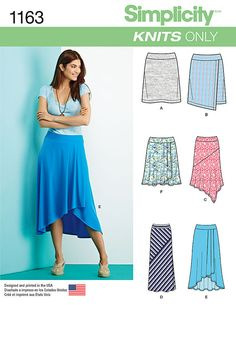 misses' skirts can be knee length with option of asymetric faux wrap, midi length or floor length skirt playing with stripes in two directions, or draped knee length or long high low. simplicity sewing pattern.