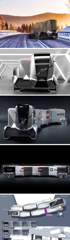 The Volvo Autonomous Trailer AT404 design is actually a modular system of multiple containers held together by magnetic force. Each unit can be specialized to hold specific types of cargo. On a trip, sections can be dropped off and replaced an infinite number of times. The modular design also makes the truck as a whole more flexible. Without a single, stiff container, it can bend and move with greater agility!