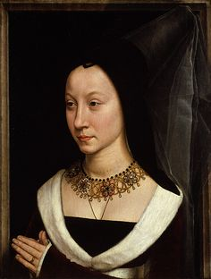 Maria Portinari (Maria Maddalena Baroncelli, 1456–?), probably 1470  Hans Memling (Netherlandish, active by 1465, died 1494)  Oil on wood    (.626, Tommaso) overall 17 3/8 x 13 1/4 in. (44.1 x 33.7 cm), painted surface 16 5/8 x 12 1/2 in. (42.2 x 31.8 cm); (.627, Maria) overall 17 3/8 x 13 3/8 in. (44.1 x 34 cm), painted surface 16 5/8 x 12 5/8 in. (42.2 x 32.1 cm)  Bequest of Benjamin Altman, 1913 (14.40.626–27)