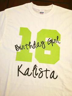 Birthday Girl Custom Name Age Vinyl Shirt Shirts Designs