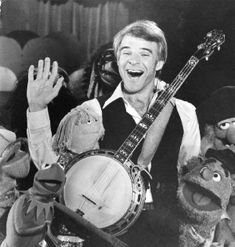 """Steve Martin - """"The banjo is such a happy instrument, you can't play a sad song on the banjo - it always comes out so cheerful. Fraggle Rock, The Muppet Show, Bluegrass Music, Steve Martin, Jim Henson, Saddest Songs, Folk Music, Kermit, Dreams"""