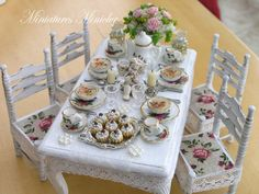 Dollhouse Miniature Dining Table Laid For A Special by Minicler