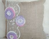 Burlap pillow with lace and felt rings-Burlap pillow–appliqued pillow cover–32x32 cm or 12,5x12,50 inches– Country Chic Home– Country style