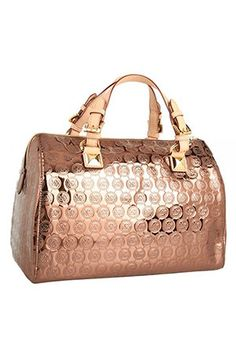 32d7dc09de8182 MICHAEL Michale Kors - Grayson Mirror Metallic Large Satchel In Cocoa My  Dream Bag :)