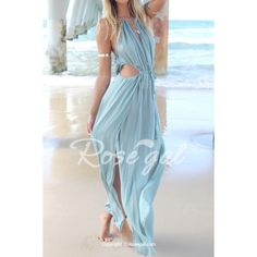Bohemian Halter Neck Sleeveless Hollow Out High Furcal Women's DressMaxi Dresses | RoseGal.com
