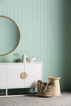The colour 'Pastel Pine' is fresh and vibrant. It's perfect for making a statement. When paired with white and geometric shapes from GlobeWest the space feels contemporary. Mint Color Room, Room Colors, Mint Walls, Mint Bedroom Walls, Living Room Designs India, Pastel Home Decor, Feature Wall Bedroom, Pastel Room, Modern Home Interior Design