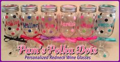 Personalized REDNECK WINE GLASSES in your choice of colors, words, names, monograms & polka dots. Handmade by Pam's Polka Dots https://www.etsy.com/shop/PamsPolkaDots