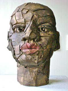 Cardboard sculpture  Head 'African American Youth'