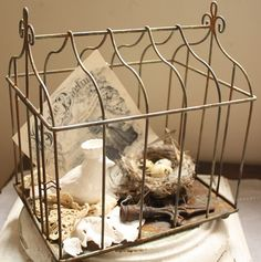 <3 Pretty 'birdcage' vignette. (Disclaimer: I do not own this image. Click on photo to find the site it was pinned from.) Vintage Crafts, Vintage Decor, Bird Cages, Bird Feeder, French Farmhouse, French Country, Farmhouse Decor, Store Displays, Wire Baskets