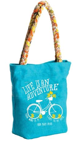 Life is an Adventure tote bag - Your word is a light to my path - From Psalm 119:105 - Join Carpentree on a mission to help women achieve freedom from human trafficking. - Jute bag with hand-braided sari handles. - Sari handle colors/prints with vary - Magnetic button snap.