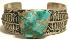Old Pawn Navajo Blue Gem Turquoise Sterling Silver Cuff Bracelet - Leroy James