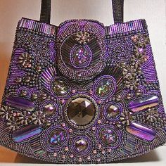 This satisfies my taste for purple AND beaded bags ♥♥♥♥♥♥♥ LD Purple Love, Purple Bags, All Things Purple, Shades Of Purple, Purple Purse, Beaded Purses, Beaded Bags, Beaded Jewelry, Custom Purses
