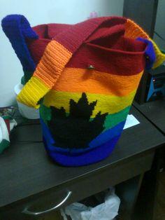 mochila tejida en medio punto crochet
