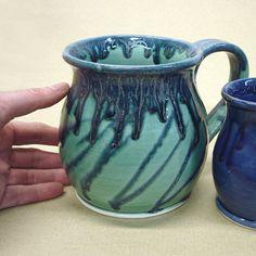 Large 28 oz. Coffee Mug, Tea Cup, Hot Cocoa Big Old Cup, Mint Green Cobalt Blue