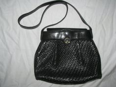 Vintage GUCCI Woven Black Leather Handbag80s by LIFEofOLWEN