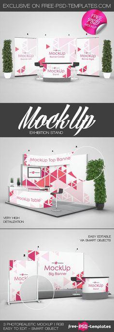 3 Free Exhibition Stand Mock-ups in PSD Flyer Free, Stand Design, Psd Templates, Portfolio Design, Mockup, Free Images, Genre, Resume, Adobe