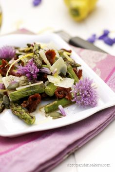 Spring Salad with Chive Blossoms & Squash Seeds