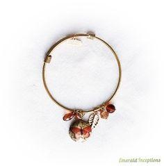Brown Rust Butterfly Locket Gold Bracelet Bangle