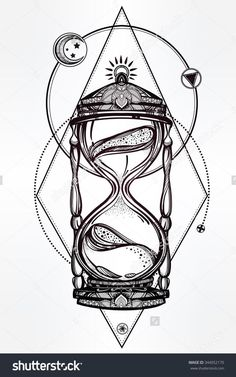 Hand drawn romantic lovely drawing of a hourglass. Vector illustration remoted. Tattoo design, mystic time image in your use.. ** See even more by going to the image