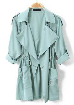 Light Green Long Sleeve Epaulet Drawstring Trench Coat