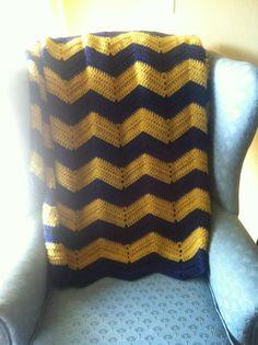 Team spirit Navy and Mustard chevron crochet blanket