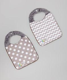 sewing inspiration-Gray Chevron & Polka Dot Minky Reversible Bib Set