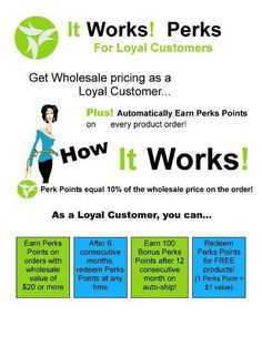 Earn points with every order!!  NO MEMBERSHIP fees!!!!!!    tracypearson.myitworks.com