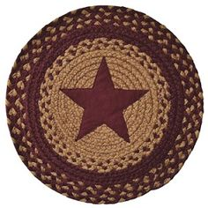 Burgundy Star Round Braided Table Placemats