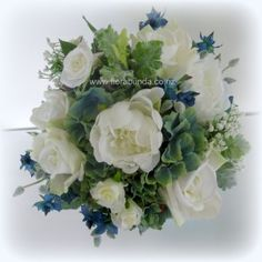 Blue and white mixed rose and hydrangea bouquet large image Hydrangea Bouquet, Flower Bouquet Wedding, Artificial Flowers, Silk Flowers, Shades Of Blue, Perfect Wedding, Floral Wreath, Blue And White, Wreaths