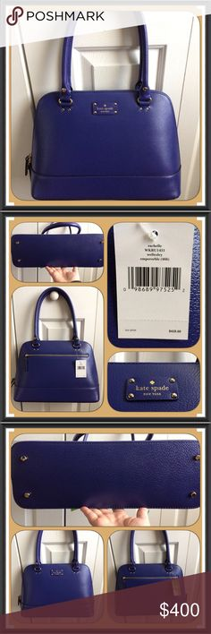 """✨HP✨NWT Kate Spade Wellesley Rachelle-Emperor Blue Brand NWT beautiful Emperor Blue Kate Spade large Wellesley Rachelle Satchel. No larger available through Kate Spade.  The color is absolutely gorgeous!!  You can take it anywhere and everywhere - day to night!!! No trades! Details: • Leather  • Gold Tone Hardware  • Feet on bottom of bag • One exterior zip pocket  • Double Zipper Closure • Two interior slip pockets • One interior zip pocket • Blue Kate Spade Signature lining • 8"""" Handle…"""