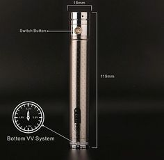 The battery GS Ego II Twist is a regulated voltage with  2200 mah capacity. The pole operated plate eliminating the chances of not making contact with your atomizer. The special look of carbon fiber makes it unique. The ring of the adjustable voltage at the bottom is comfortable to rotation and has 4 points snaps (3.3V, 3.8V, 4.3V, 4.8V).  Product Name: EGO II  Twist 2200mAh Battery Capacity: 2200mAh Screw Thread: 510/ego Battery Size: 18.5mm*120mm Battery Net Weight:  97.9g